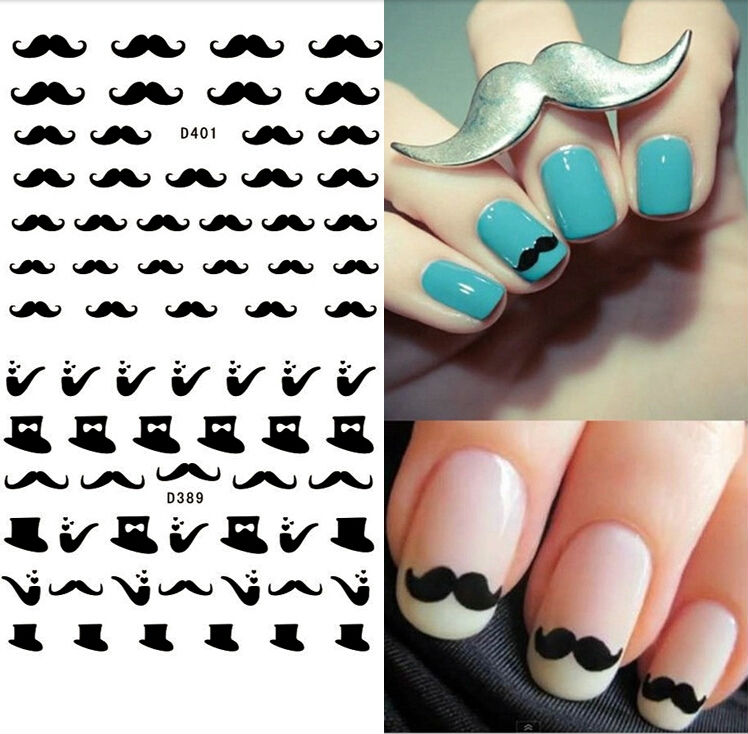New Arrival Beard And Glasses 3d Nail Art Stickers Style Nail Decals ...