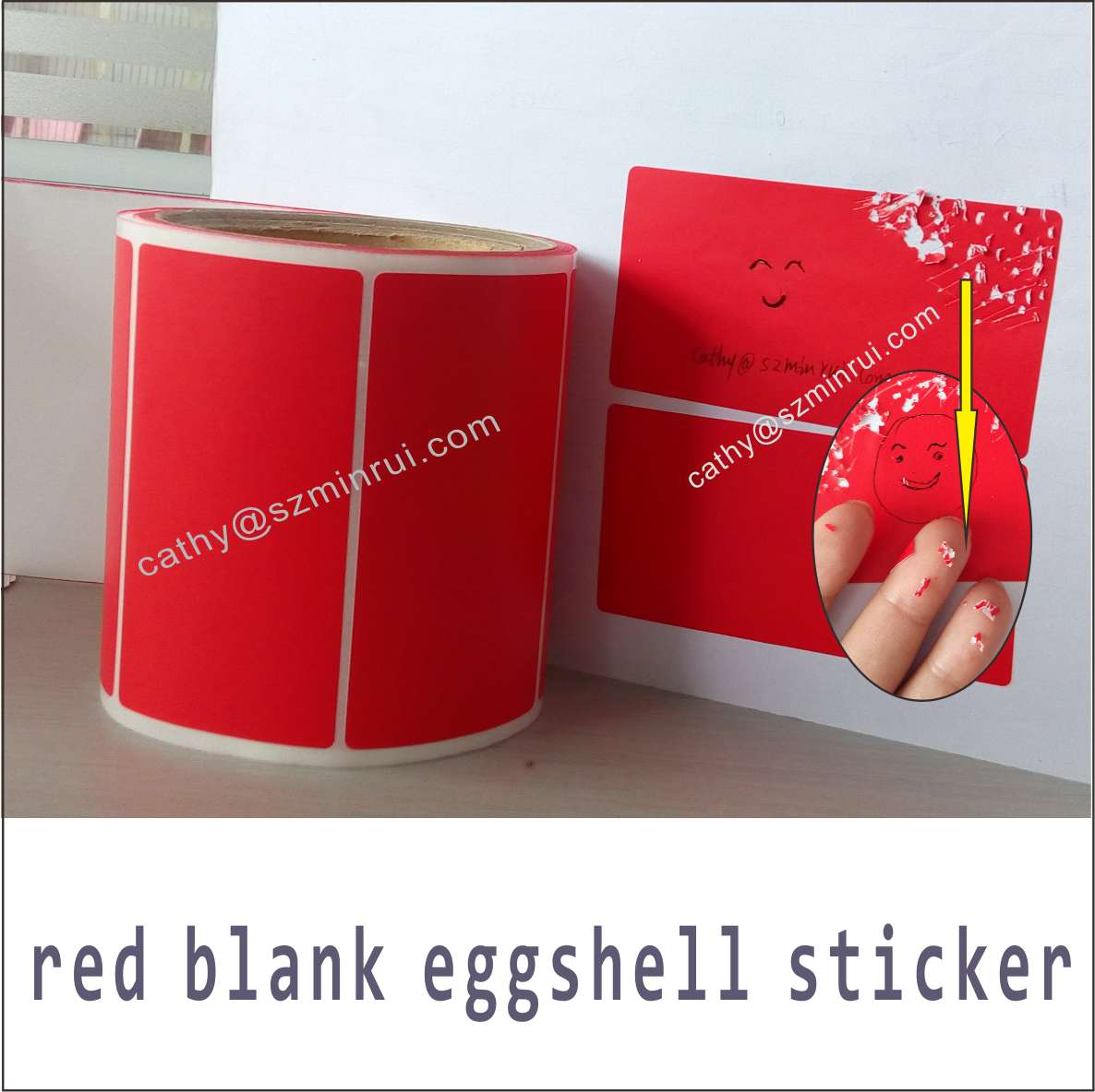 Red free blank eggshell stickers made in china supply cheap vinyl eggshell sticker custom