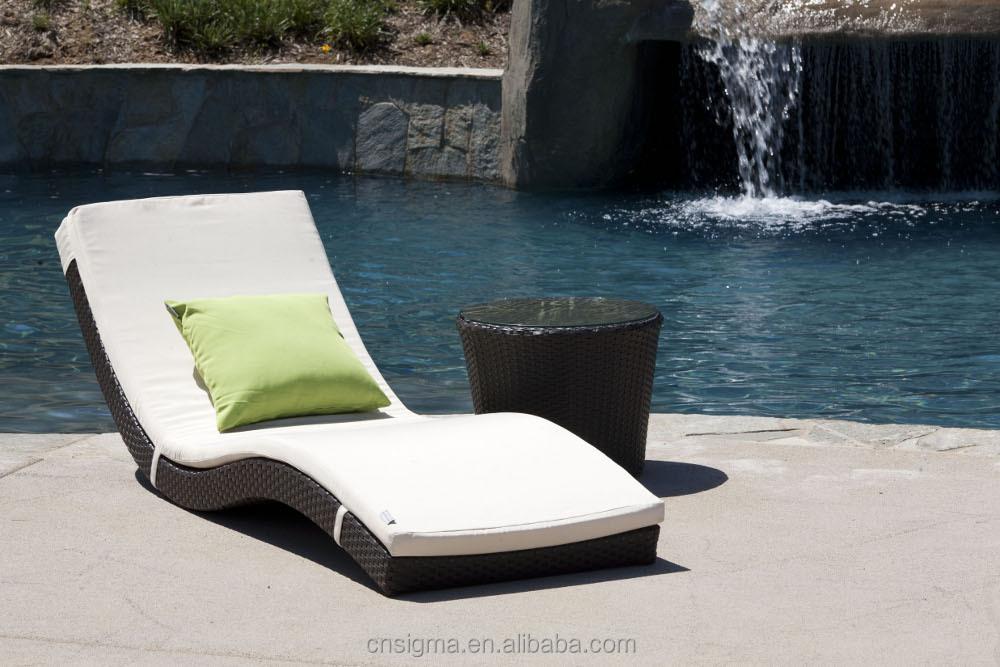2014 modern rattan lounge chair beach sun lounger swimming for Swimming pool loungers