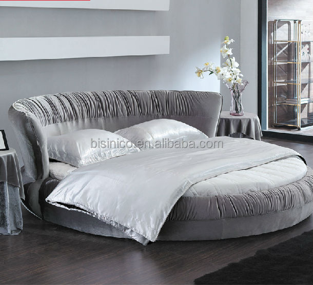 New Model Bisini Top Grade Fabric Grey Round Bed Double