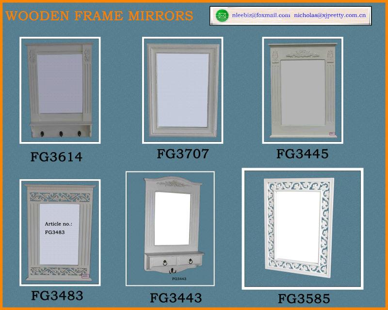 Blanco Pintado Espejo Enmarcado De Madera Con Ganchos/espejo ...