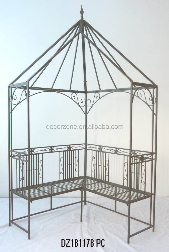 Antique Wrought Iron Garden Arbors With Bench For Sale