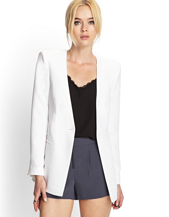 White Casual Blazer Womens - Hardon Clothes
