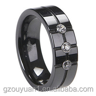 8 mm Black Diamond Ceramic Rings with 3 CZ Stone
