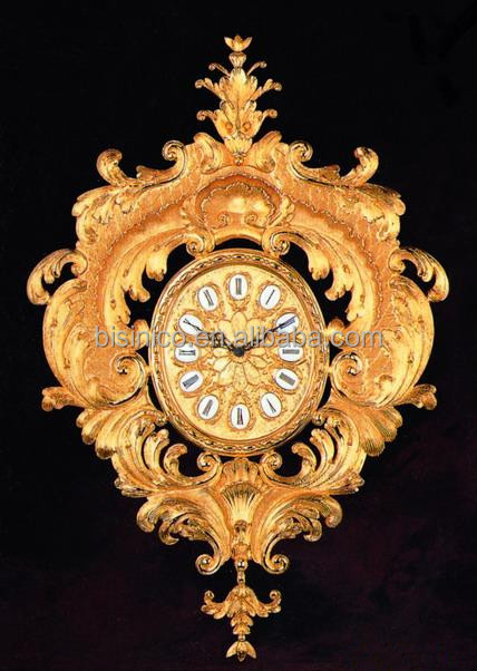 Antique Bronze European Wall Clock Clic Gold Plated Decoration Mounted Art
