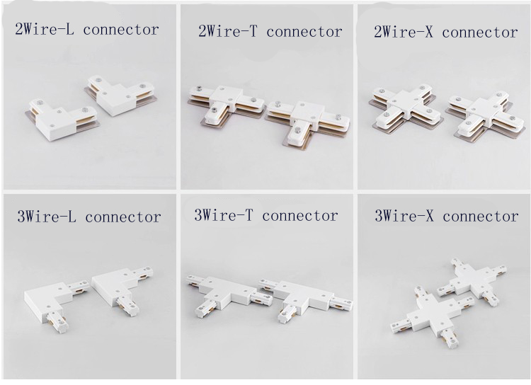 Charming 2wires T Connector For L Type Track Rail Track Lighting Parts