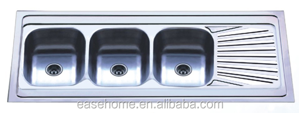 Kitchen Sink With 3 Bowls Triple Bowls Stainless Steel Sink