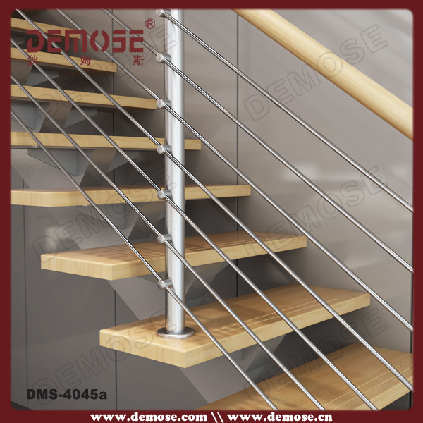 Discount Wooden Staircase With Stainless Steel Railing