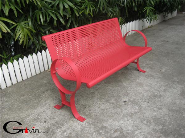 Powder Coated Matte Red Outdoor Metal Mesh Garden Bench