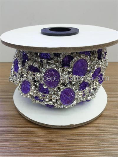 New popular purple rhinestone trimming bling bling decorative bridal rhinestone trim for women clothing