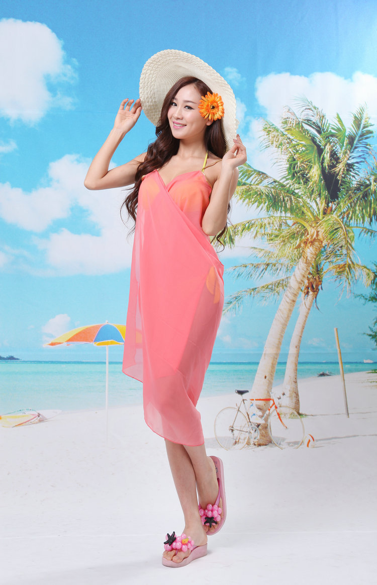 Cheap Chiffon Hot Sexy Girl Wrap Front Summer Cover Up Beach Dress ...
