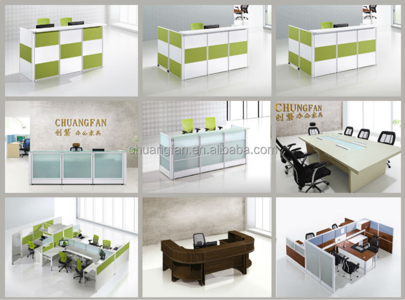 cf glass front desk furniture modern hotel reception counter design for 2 person - Glass Front Hotel Decoration