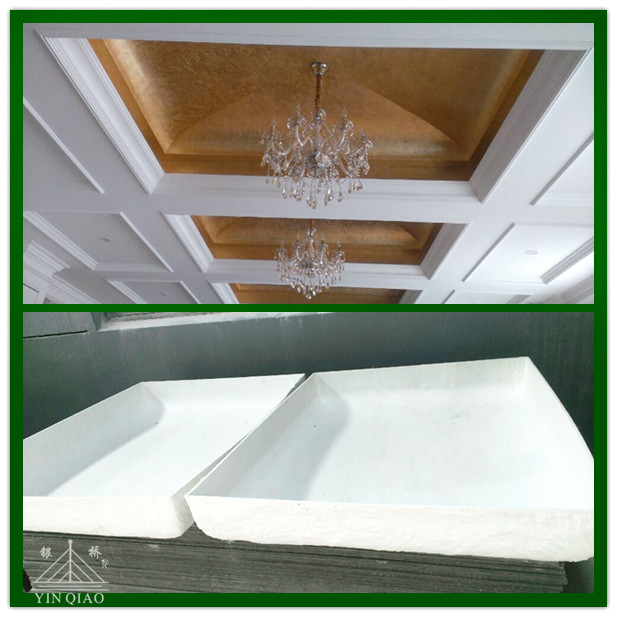 Plaster Recessed Ceiling Dome Plain White Gold Square For Meeting Room Office House Living