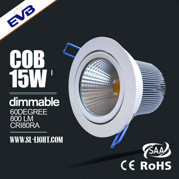 15w Cob Led Downlight With 90mm Cut Out 1000 Lumens 220v