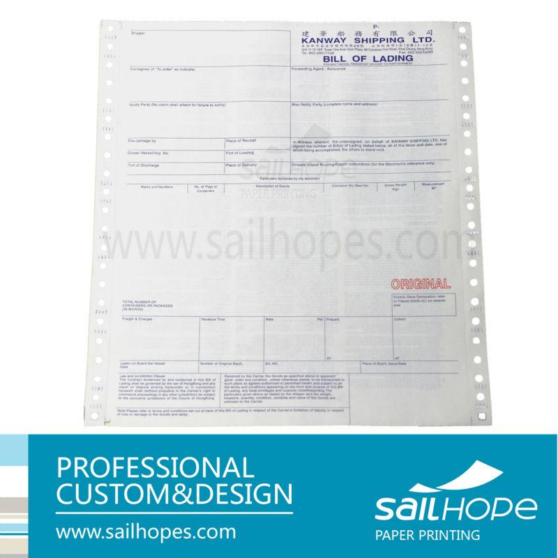 Manufacture Printing Nice Image Standard Ocean Bill Of Lading – Standard Bill of Lading Form
