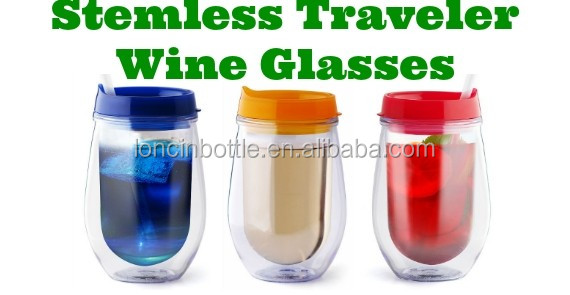 10oz double wall acrylic stemless wine glass with lid double wall insulated 10 oz acrylic