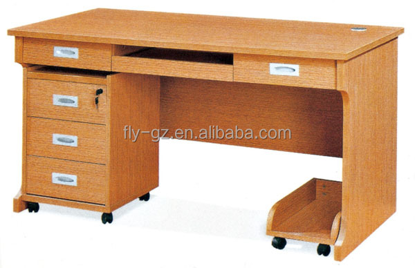 Modern Design Teachers Table With Movable Cabinet And Computer Holder