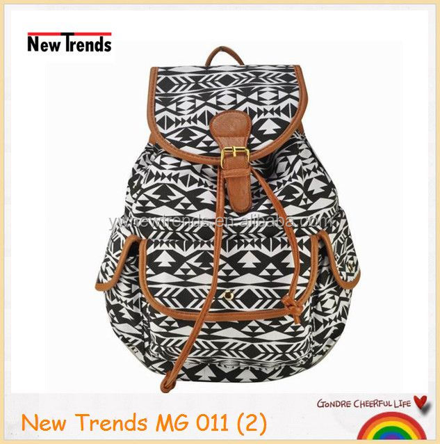 Black And White Aztec Tribal Printing Canvas Backpack With The ...
