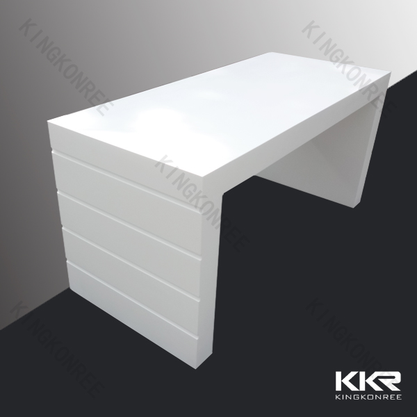 4 Legs White Solid Surface High Gloss Bar Table