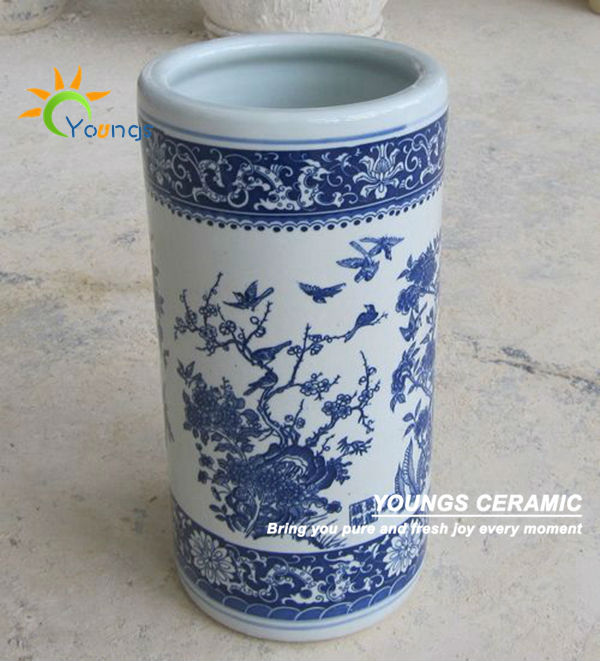 Varied Chinese Blue And White Ceramic Cylinder Floor Standing Vases For Umbrella View Floor