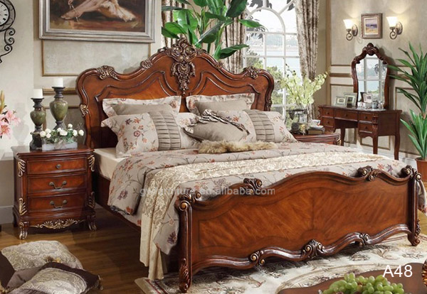 Italy luxury royal antique furniture bedroom sets, king size classic wood  bed A01