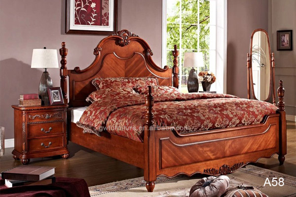 antique american style solid wood bed A55, bedroom furniture, made in China