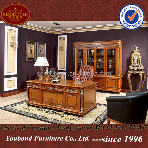 Wooden Study Room: 0010 Solid Wood Luxury Classic Spain Style Study Room Home