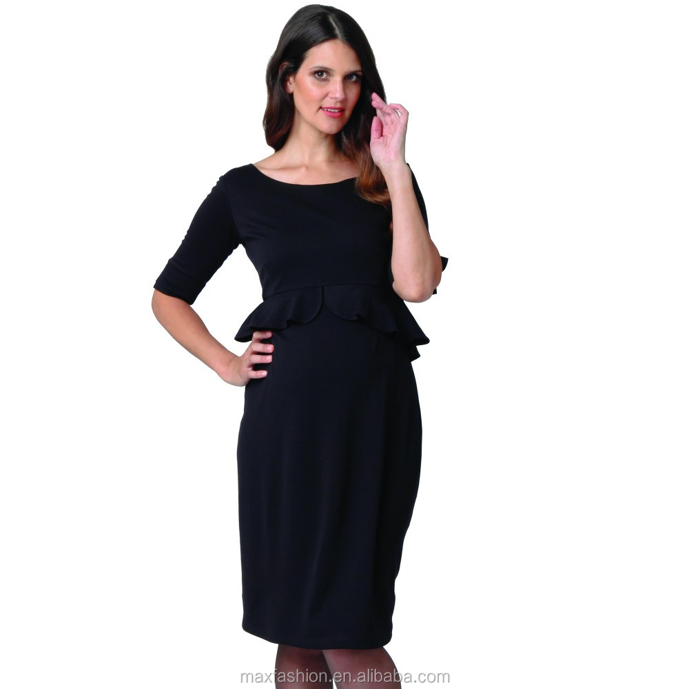 bac65e9216ebb black office ladies dress,maternity wear wholesale,pregnant women dresses