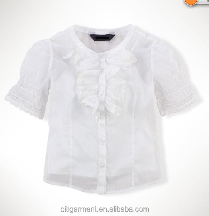 Children Girls Organdy Ruffled Blouse (2-6years) - Buy Girls White ...