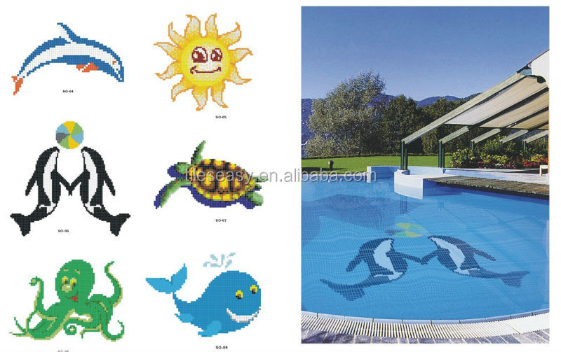 Pool design dolphin buy swimming pool tile dolphin art for Pool design aufkleber