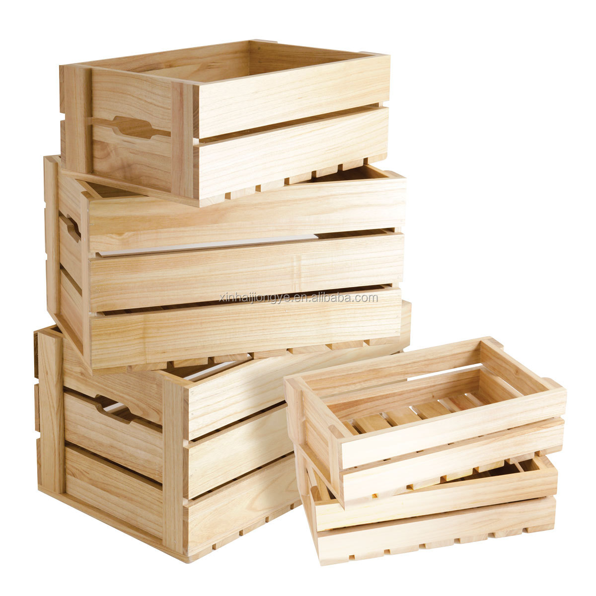 Hot selling styled wooden crate in natural color high for Wooden fruit crates