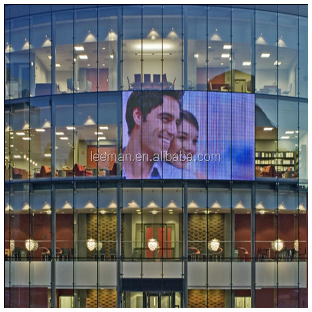indoor 6mm led video wall p10/p12/p20 glass transparent led vision display