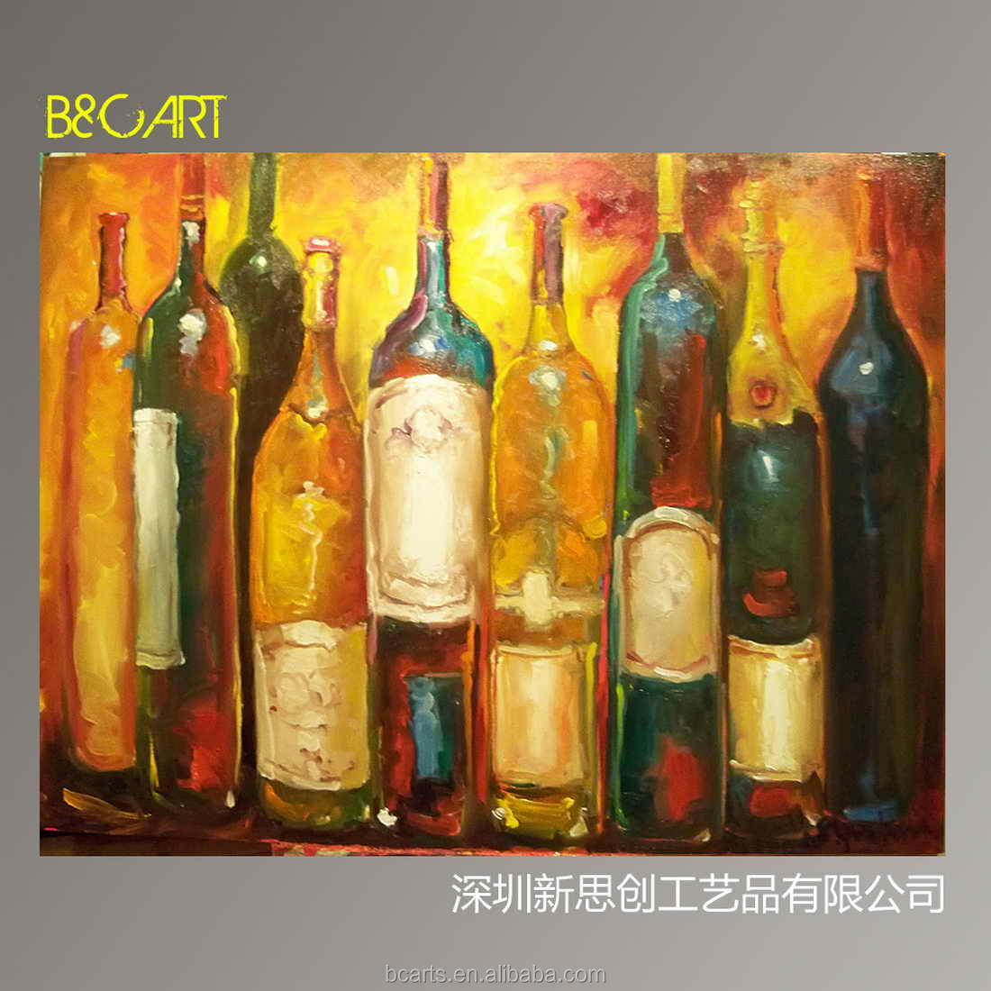 Dipinto a mano su tela astratto bottiglia di vino still for Paint vino