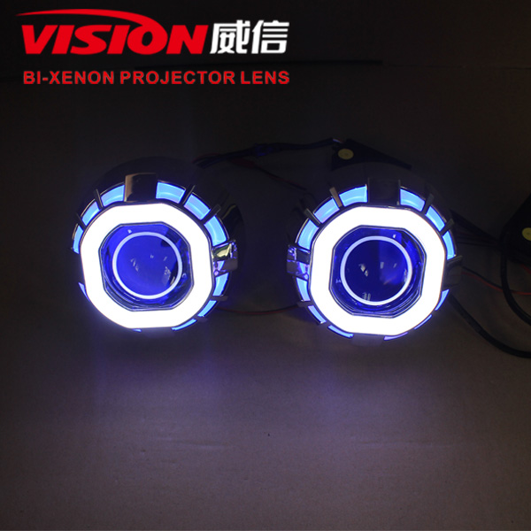 Motorcycle Led Projector Headlights Hid Angel Eyes Square Bi Xenon ...
