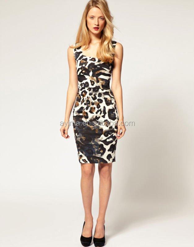 ba07ded7ba hot selling ladies elegant sleeveless midi leopard print wedding dress