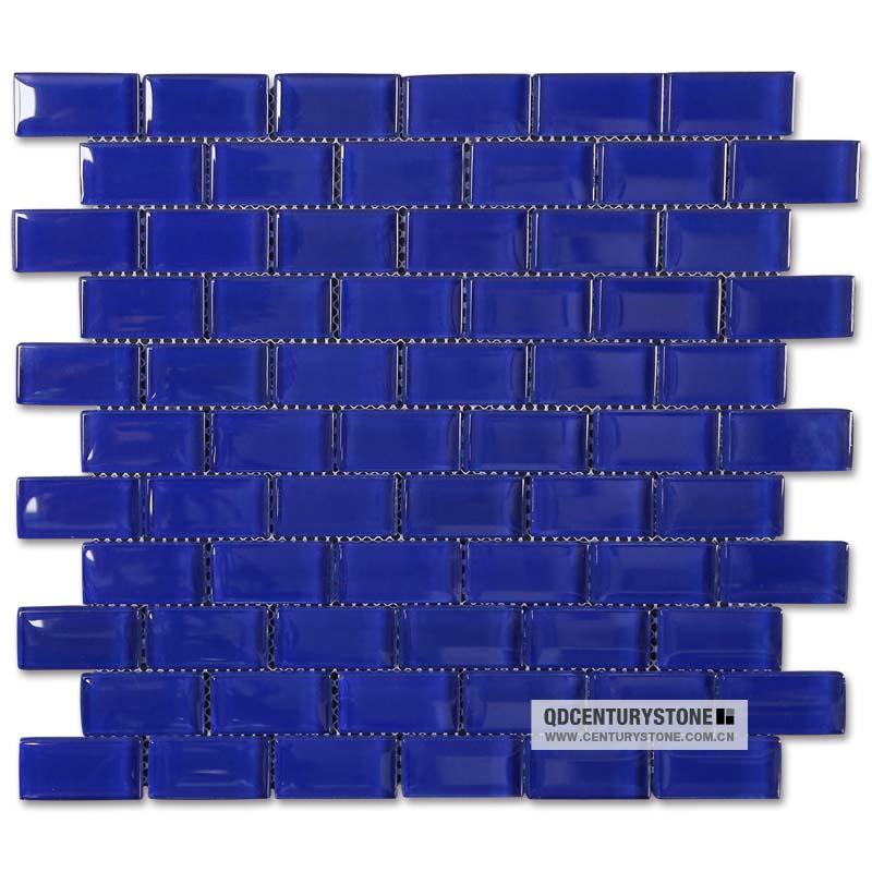 Lucido blu zaffiro della parete di vetro cucina bagno in for Piastrelle cucina blu