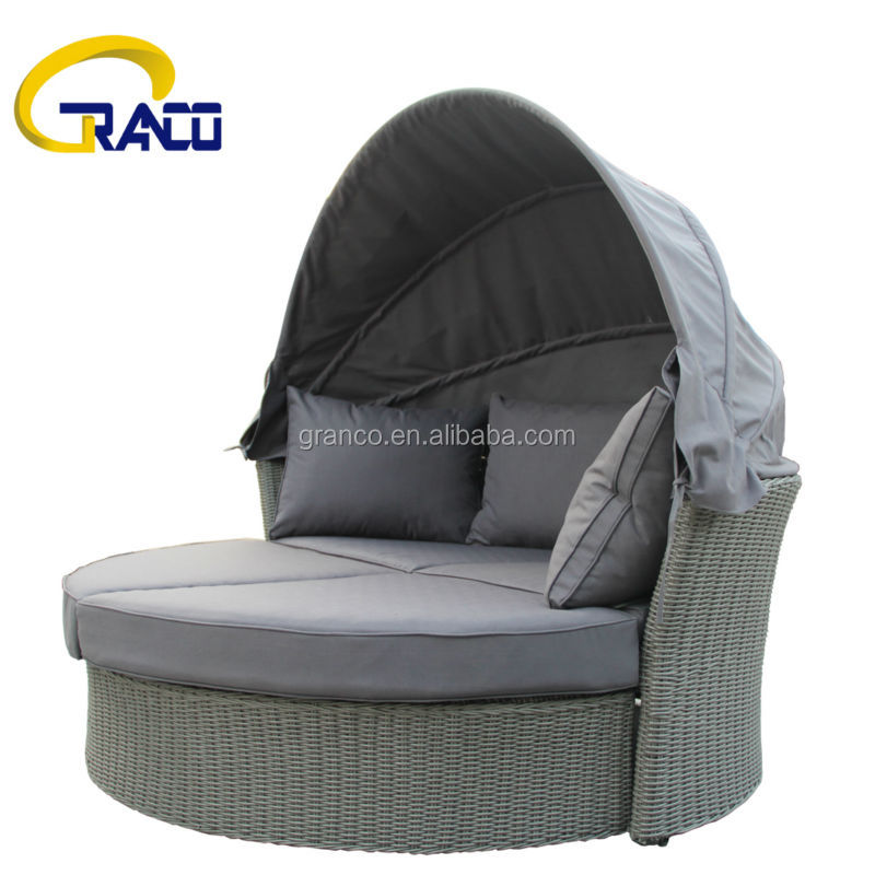 outdoor rotatable footstool rattan bed with canopy