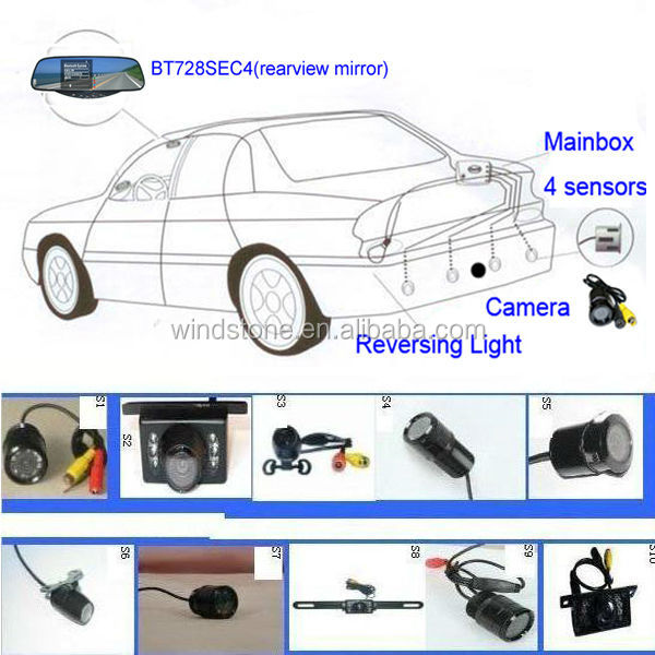 Handsfree Rearview Mirror Show Caller ID Wireless Bluetooth Camera