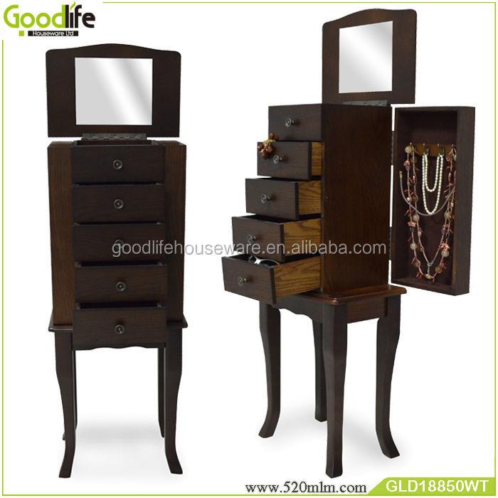 Floor Standing Wooden Jewelry Box Makeup Organizer Drawers