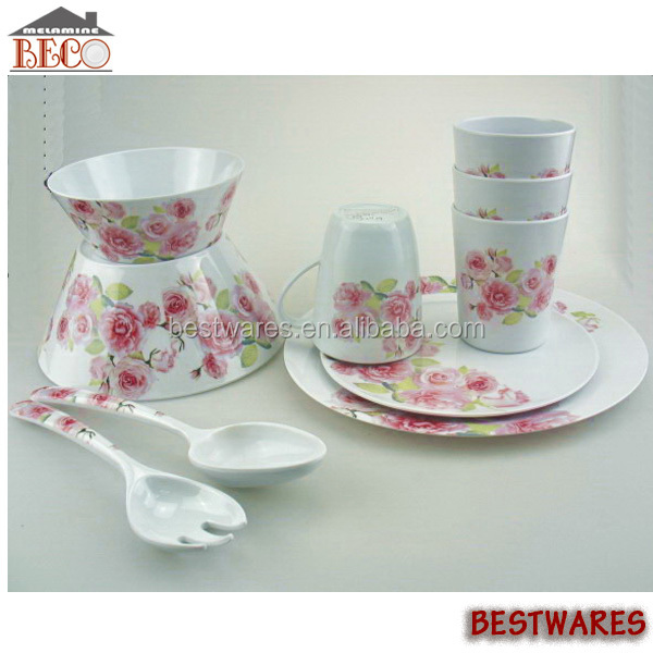 China Supplier Rose Decal Melamine Baby Dish Dinner Set