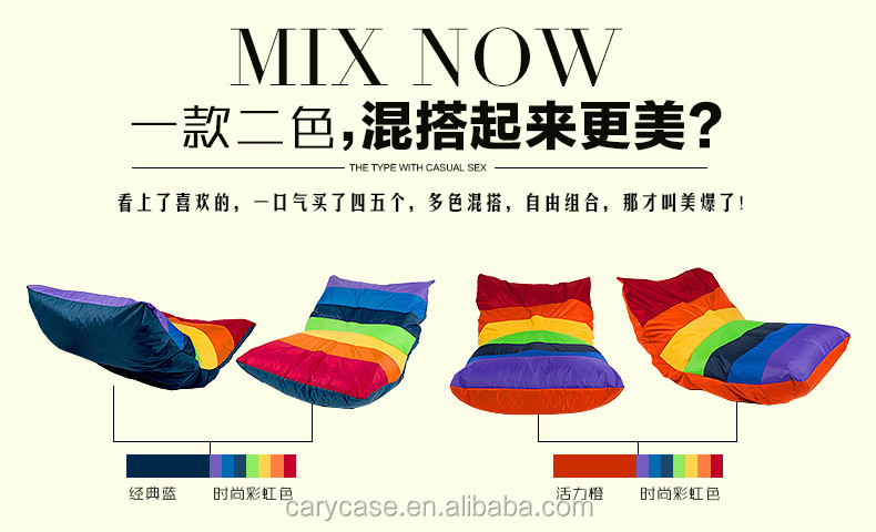 Foldable Deluxe Rainbow Bean Bag Chair Waterproof Adults