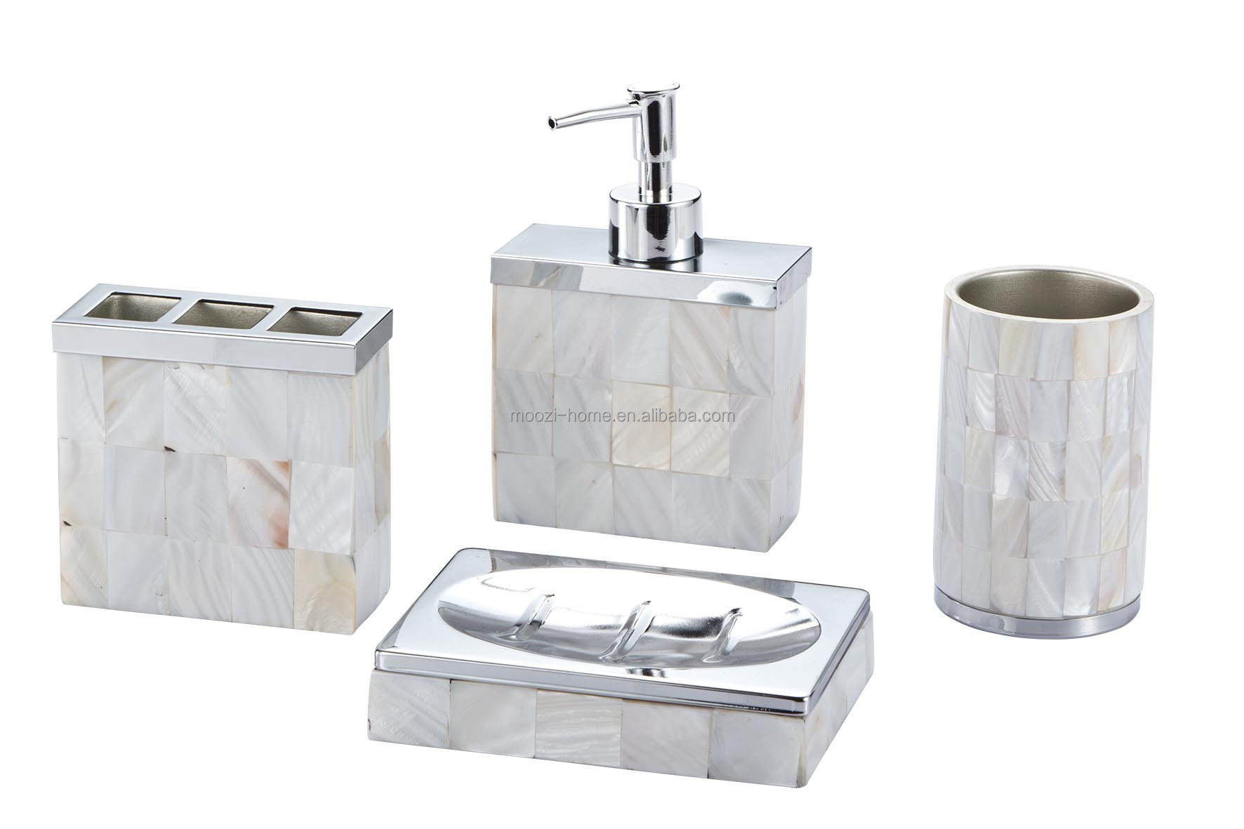 Silvery stone like resin bathroom set soap dispenser buy for Toilet accessories