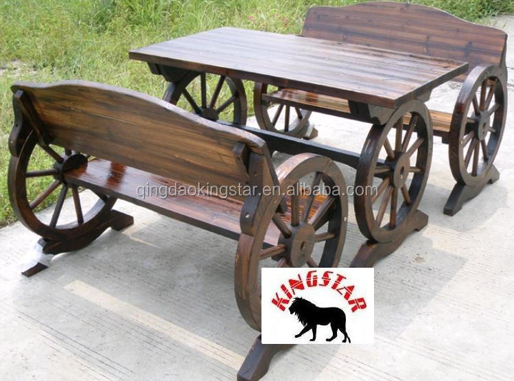 Wooden Wheel Table ~ Burnt wood wagon wheel table buy wheels