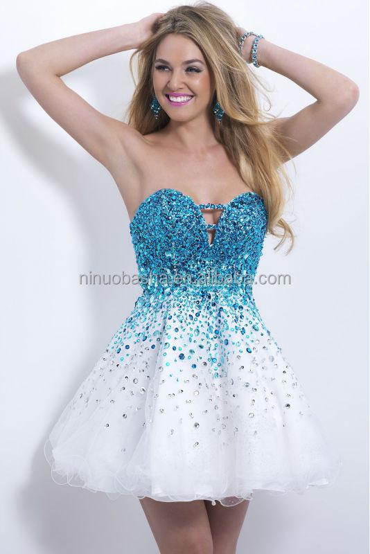 Hermoso Blanco Y Azul Corto De Baile Vestidos Fiesta Fuertemente Cristal Acento Cariño A Línea Vestido De Fiesta Venta Caliente Nb0467 Buy Vestido