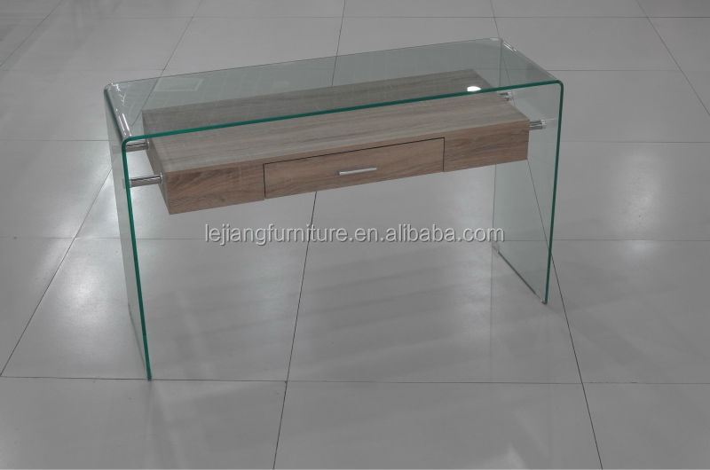 Cheap Modern Bent Glass Clear Console Table With Glass Shelf