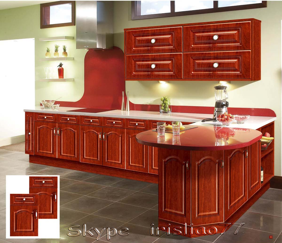 Mdf Wood Kitchen Cabinets: White Pvc Coated Kitchen Cabinets