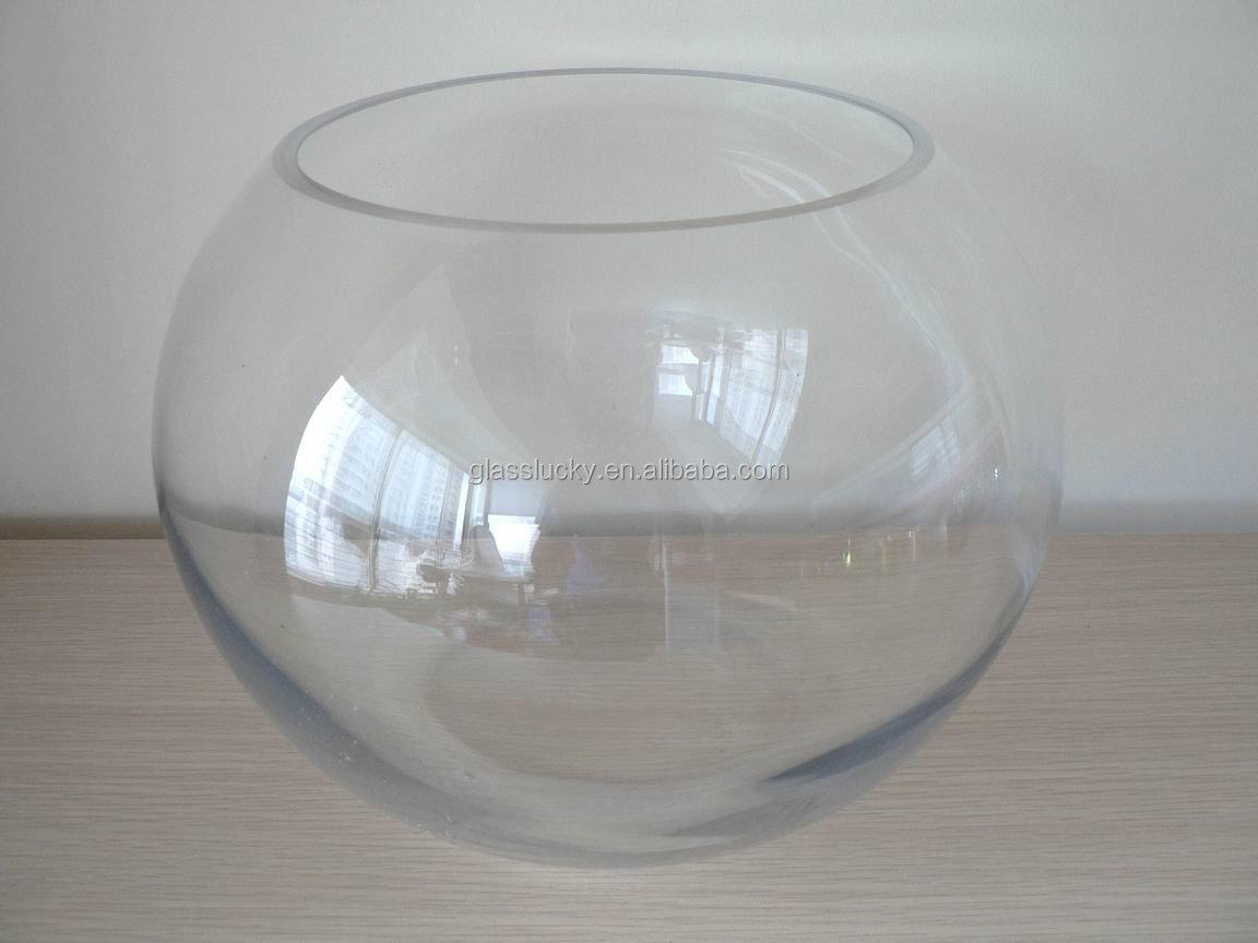 Clear glass aquarium fish tanks round glass as decoration for Vase aquarium rond
