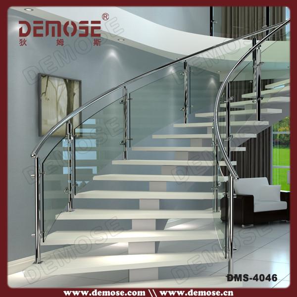 Superior Modern Glass Railing Wood Tread Curved Stair Design