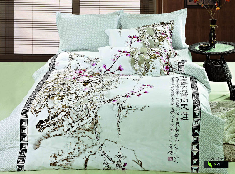 Asian Themed Bedding: Beatiful And Elegant Chinese Style Printed Duvet Cover Set