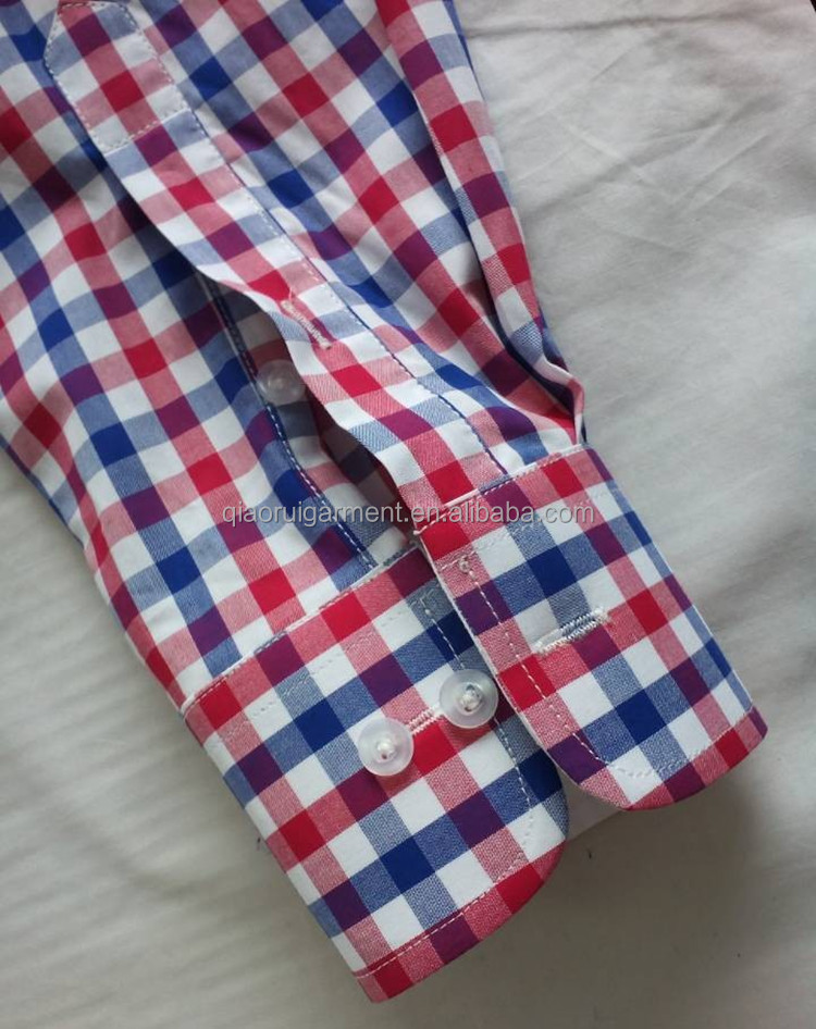Wholesale Men's Spring High Quality Red and Blue Gingham Dress ...